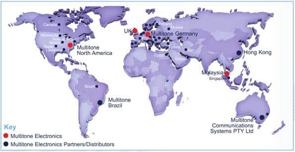 A map of Mulititone electronics along with partners and distributors